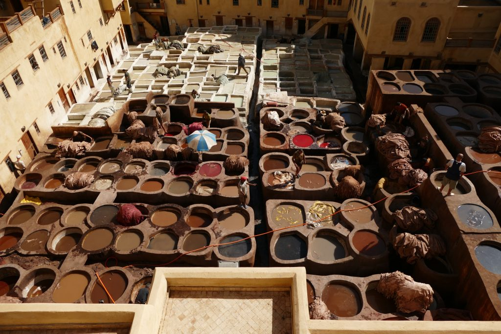 tannery in Fes from roamingcamelsmorocco